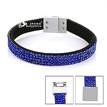 Small Profit 4 Row Crystal Bracelets For Women Man Leather Bracelet Bangles Charm Jewelry 2.5cm Wide