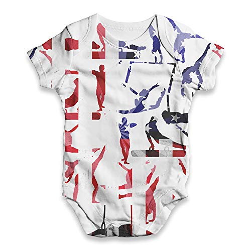 Funny Baby Clothes USA Artistic Gymnastics Silhouette Baby Unisex ALL-OVER PRINT Baby Grow Bodysuit 6-12 Months White (Gymnastics Artistic Clothing)