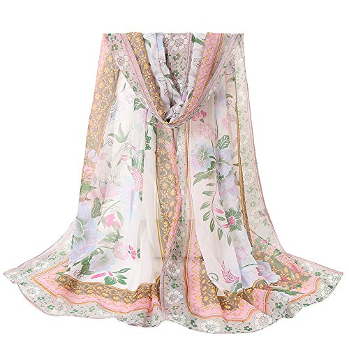 DEATU Lightweight Fall Scarfs for Women, Clearance Ladies Flowers Printing Long Soft Wrap Scarf Shawl (D)