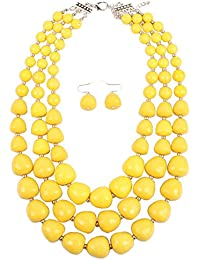 NA KOSMOS-LI 5 Colors Acrylic Beads Statement Strand Necklaces