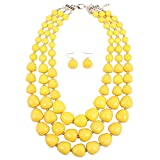 KOSMOS-LI 3 Layer Acrylic Yellow Bead Multi Strand Necklace