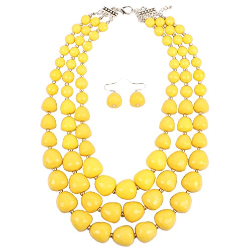 KOSMOS-LI 3 Layer Acrylic Yellow Bead Multi Strand Necklace - Big Costumes Jewelry Necklaces