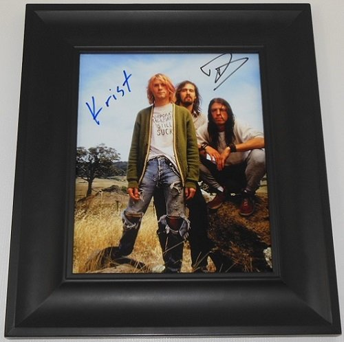 Nirvana Nevermind Krist Novoselic Dave Grohl Hand Signed Autographed 8x10 Glossy Photo Gallery Framed -