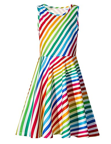 RAISEVERN Little Girls Sleeveless Dress Cute Casual Rainbow Stripe Dresses 3D Print Round Neck Summer Swing Twirly Sundress for Kids Birthday Theme Party Size 4-5 Multicolor ()