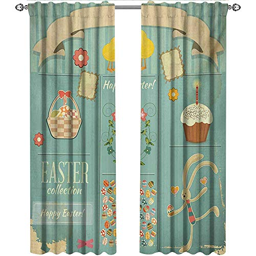 Returiy Easter, Curtains Bathroom Window, Easter Themed Rabbit Ornamental Eggs Cupcake and Basket Spring Season Arrangement, Curtains Kids, W72 x L84 Inch, Multicolor ()