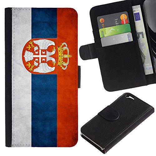 EuroCase - Apple Iphone 6 4.7 - Serbia Grunge Flag - Cuir PU Coverture Shell Armure Coque Coq Cas Etui Housse Case Cover