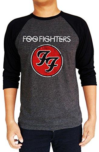Foo Fighters FF Distressed Logo Baseball Tee Raglan 3/4 Sleeve Men's T Shirt Medium Charcoal Black/Black