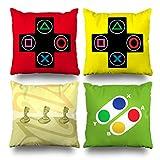 Kutita Set Of 4 Decorativepillows 18 x 18 inch Throw Pillow Covers,Video Games Controller Gamer Geek Joystick Double-sided Decorative Home Decor Pillowcase