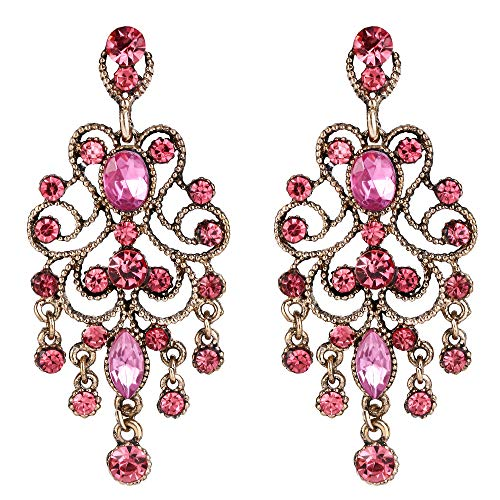 BriLove Wedding Bridal Dangle Earrings for Women Vintage Style Crystal Drop Hollow Filigree Chandelier Dangle Earrings Pink Antique-Gold-Toned ()