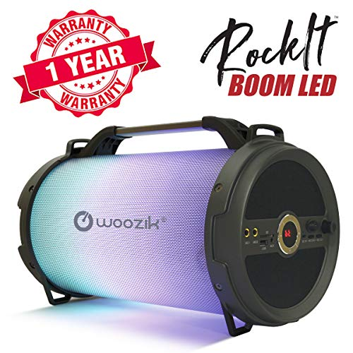 Woozik Rockit Boom LED Portable Bluetooth Speaker, Wireless Indoor Outdoor Boombox with FM Radio, AUX, USB, SD Card and MIC Support