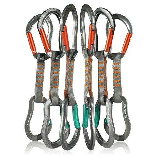 Fusion Climb 6-Pack 11cm Quickdraw Set with Techno Zoom Orange Straight Gate Carabiner/Techno Zoom Green Bent Gate Carabiner by Fusion Climb