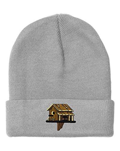 Speedy Pros Western Birdhouse Embroidered Unisex Adult Acrylic Beanie Winter Hat - Light Grey, One Size