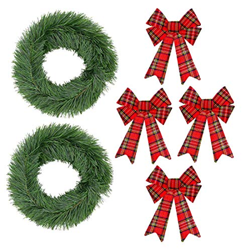 Reindeer Topiary (Christmas Garland with Large Plaid Bows, Set of 2 Artificial Green Pine, 4 Tartan Bows for Fence, Front Door, Porch Railing, Mantel, Free Reindeer Button)