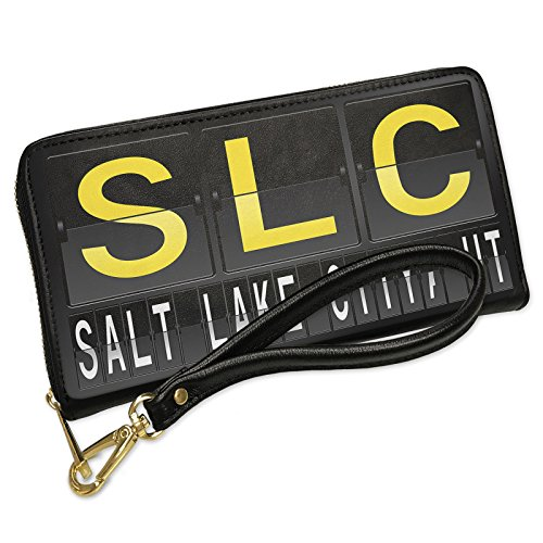 Wallet Clutch SLC Airport Code for Salt Lake City, UT with Removable Wristlet Strap - Shops Airport Slc