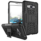 Wow Imagine Shockproof Hard Pc + Tpu With Kick Stand Rugged Back Case For Samsung Galaxy J2 Prime / Ace / Grand Prime 2016 / G532 - Black