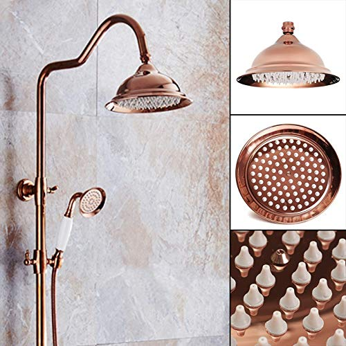 8 Inch Antique Vintage Red Copper Rose Gold Round Bathroom Rain Shower Head Home Bathroom Product