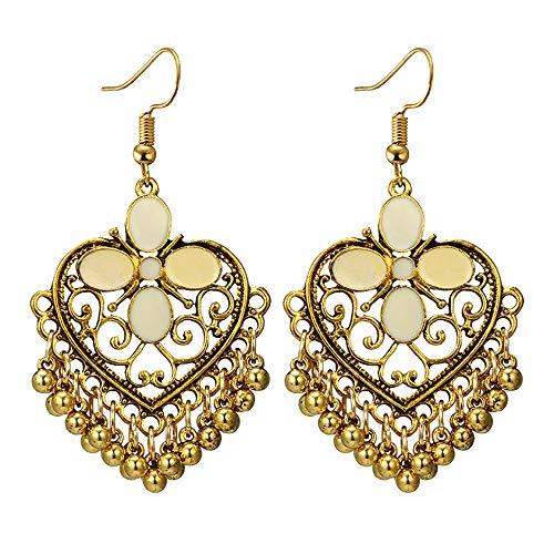 Yanvan Women Elegant Drop Dangle Long Chain Earrings, Women Geometric Love Hollow Butterfly Pattern Drip Oil Long Bell Vintage Fringe Earrings