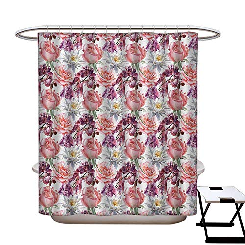 haommhome Floral Mildew Resistant Shower Curtain Liner Watercolor Rose and Orchid Lily Flowers Motif Nature Inspired Petals Artwork Water Repellent & Stain Resistant Pink and Coral72×84