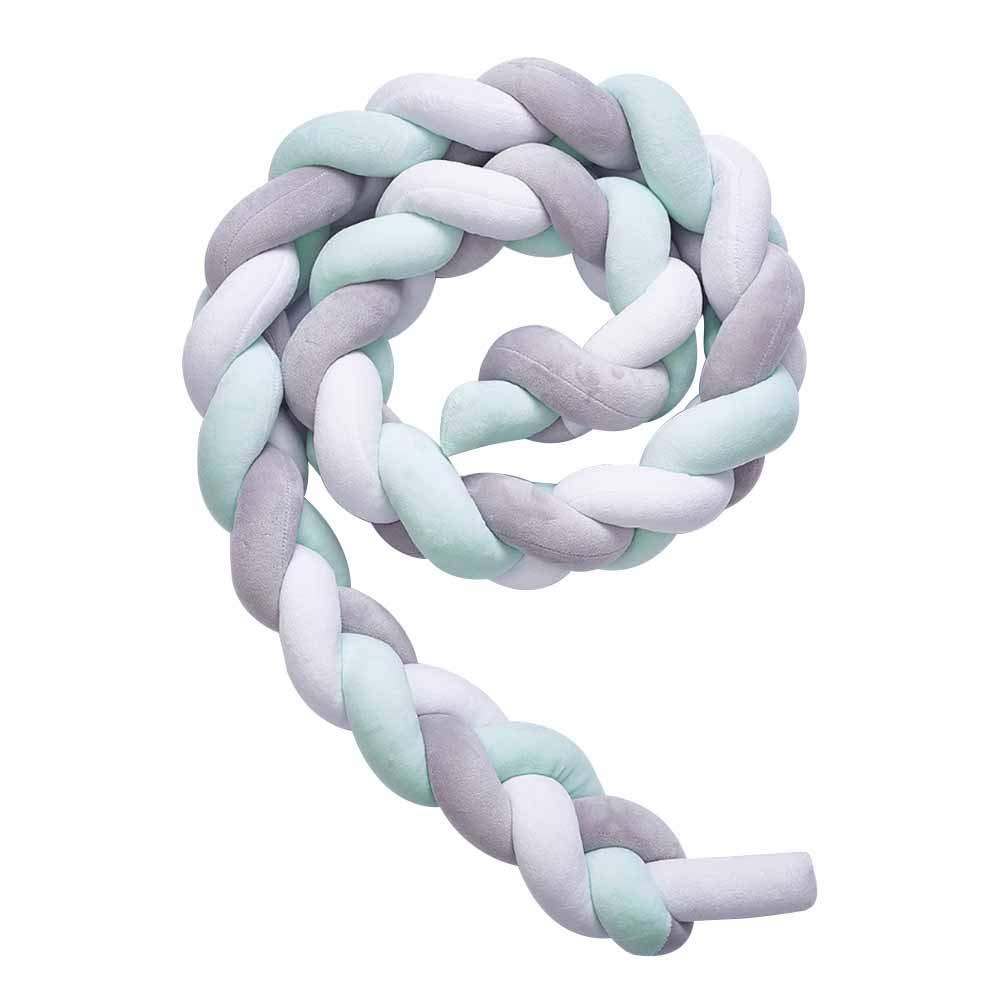Yozhanhua cuna White+Grey+Green Talla:3 M nido para guarder/ía beb/é anticolisi/ón de algod/ón trenzado antial/érgicos Protectores de cuna para beb/é