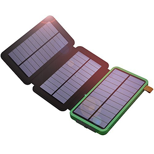 Solar Power Bank, X-DRAGON 10000mAh Solar Charger with 3 Solar Panels,Dual USB, Bright LED Portable Rugged Shockproof Dual USB Solar Battery Charger for iPhone, Cell phone and More-Green