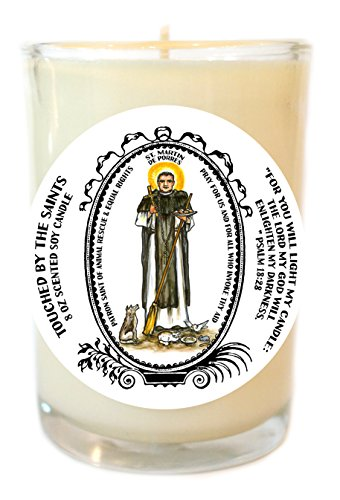 St Martin de Porres Equal Rights, Animal Rescue 8 Oz Scented Soy Glass Candle by Touched By The Saints