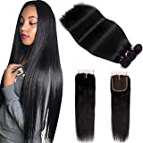 FQ Peruvian Straight Human Hair Bundles with Closure(24 26 28+20) Middle Part 100% Unprocessed Virgin Human Hair 3 Bundles with Closure 10A Straight Hair Weave Bundles with Lace Closure Natural Color
