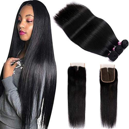 FQ Peruvian Straight Human Hair Bundles with Closure(26 28 30+20) Middle Part 100% Unprocessed Virgin Human Hair 3 Bundles with Closure 10A Straight Hair Weave Bundles with Lace Closure Natural Color