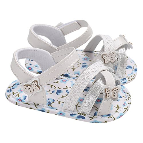 Baby Girls Butterfly Cross Strap Strappy Gladiator Flat Sandal Summer Crib Shoes Blue Flowers Size - Sandals Gladiator Flat Strap