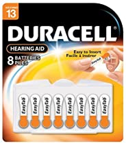 Duracell 1.4 Volt Zinc Air Hearing Aid Batteries Size 13 DA13B8 (8 Batteries)