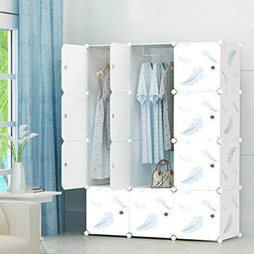 KOUSI Portable Clothes Closet Modular Wardrobe Freestanding Storage Organizer with doors, large space and sturdy construction, White-12 Cube (Cheap Portable Closets)