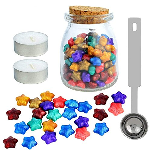 140 Pcs Star Shape Sealing Wax Beads Set with Wax Melting Spoon & 2 Pieces Candles & Glass Bottle Rainbow Vintage Sealing Wax for Wax Seal Stamp Postage Letter Manuscript (Cute Postage Stamps)