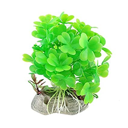 eDealMax plástico acuario Paisaje Base de cerámica plantas de trébol, Verde
