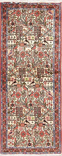 Rug Source Nahavand Beige Hand Knotted 100% Wool Geometric Persian 6 Feet Long Vintage Carpet Rug Runner for Entryways (6' 2'' X 2' 6'')