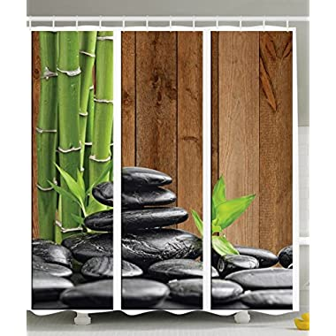 Ambesonne Art Decor Collection, Spa Zen Basalt Stones and Bamboo Trees Picture Print, Polyester Fabric Bathroom Shower Curtain Set with Hooks, Green/Dark Gray/Brown