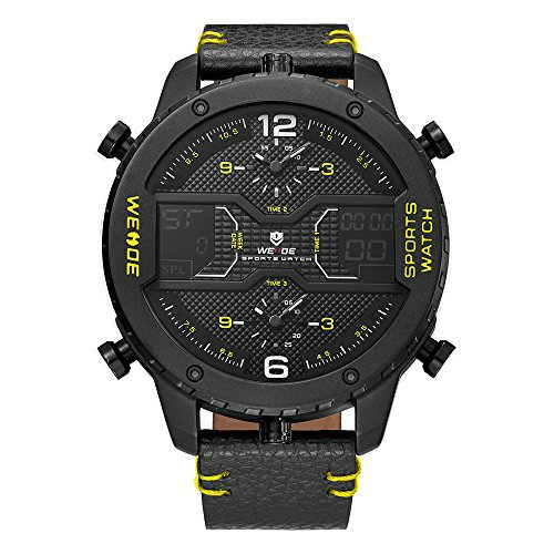 Weide Mens 3 Time Zone Analog Lcd Display Sport Digital Calendar Date Day Quartz Leather Band Wristwatch Yellow