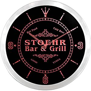 ncu43367-r STOEHR Family Name Bar & Grill Cold Beer Neon Sign LED Wall Clock