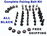 Black Complete Motorcycle Fairing Bolt Kit Kawasaki 2000 - 2001 Ninja ZX-12R Body Screws, Fasteners, and Hardware