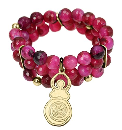 Pearl & Spirit - 14Esp-BRA19S-Bracelet Femme-Plaqué Or-Mother Goddess-Agate Facetée Fushia-3 Rangs-T 16/17 Cm