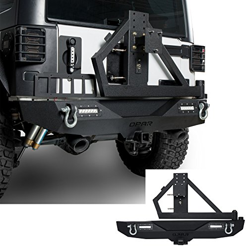 - Hooke Road 2007-2018 Jeep JK Rock Crawler Rear Bumper & Spare Tire Rack w/Hitch Receiver & 2 x 18W LED Accent Lights