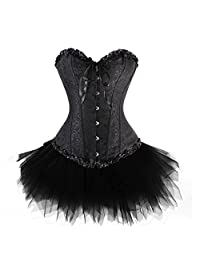 Anvoro Women's Plus Size Lace Up Overbust Corset Bridal Lingerie With Tutu
