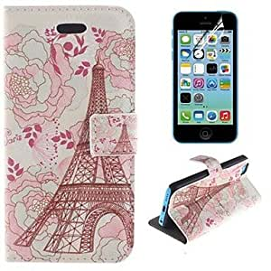 QYF Eiffel Tower and Flower Design PU Leather Full Body Cover with Stand and Protective Film for iPhone 5C