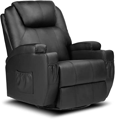 Recliner Chair Single Sofa PU Leather Massage Recliner Ergonomic Lounge Heated Headrest Adjustable Home Theaster Seating Black 1