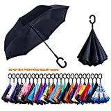Newsight Reverse/Inverted Double-Layer Waterproof Straight Umbrella, Self-Standing & C-Shape Handle & Carrying Bag for Free Hands, Inside-Out Folding for Car Use (Black Idea)