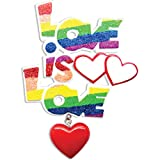 """Personalized Gay Pride """"Love is Love"""" Christmas Ornament - Rainbow Color Glitter Word with Red Heart dangling - Same Sex Couple Marriage 1st Anniversary Proud LBGTQ Gender Neutral - Free Customization"""