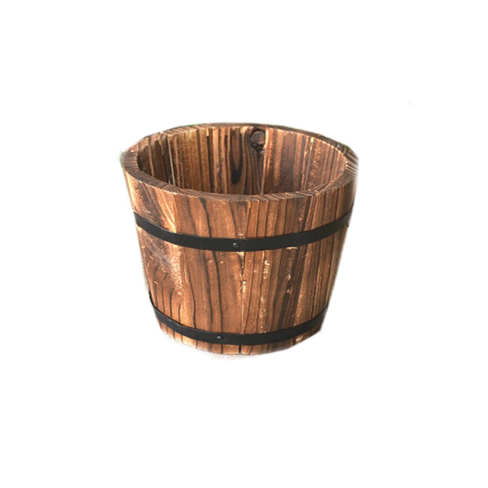 JUIOKK Wood Barrel Fleshy Flower Pot Grow Vegetables Antiseptic Carbide Wood Balcony Decoration Retro Wooden Bucket Pail