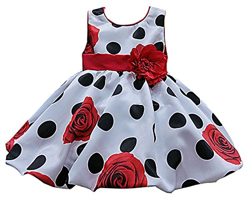 Girls Black White Smocked Dress (Sweety Girls' Black Polka Dots Red Roses Print Belted Sleeveless A Line Dress, 1 4T)