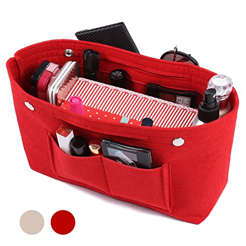 Felt Fabric Handbag Organizer Purse Organizer Insert Bag Multi-Pocket Travel for Tote Bag Petite Purse Handbag