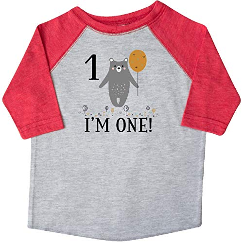 (inktastic - 1st Birthday Woodland Bear Toddler T-Shirt 3T Heather and Red 3559c)