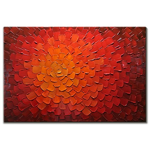 V-inspire Paintings, 24x36 inch Oil Hand Paintings Modern Framed Art 3D Hand-Painted Abstract Artwork Red Flowers Pictures on Canvas Wall Art Ready to Hang for Living Room Bedroom Home ()