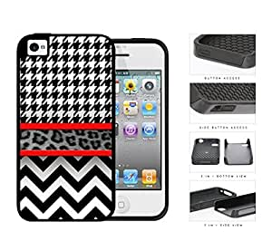 Black And White Hounsdtooth Animal Print Chevron 2-Piece Dual Layer High Impact Rubber Silicone Cell Phone Case Apple iPhone 4 4s